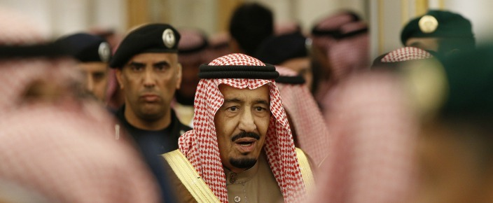 Saudi Arabia's new King Salman attends a ceremony at the Diwan royal palace in Riyadh on January 24, 2015, following the death of Saudi King Abdullah bin Abdulaziz al-Saud. Dignitaries and leaders from around the world were to arrive in Saudi Arabia today to offer their condolences to its new King Salman, a day after the death of his half-brother King Abdullah. AFP PHOTO / POOL / YOAN VALAT (Photo credit should read YOAN VALAT/AFP/Getty Images)