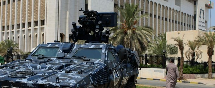 A Kuwaiti special forces vehicle is parked outside the constitutional court in Kuwait City on August 4 during the trial of 29 suspects charged over a suicide bombing at a Shia mosque in June. (YASSER AL-ZAYYAT/AFP/Getty Images)