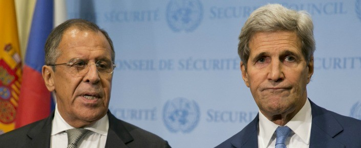 U.S. Secretary of State John Kerry (R) and Russian Foreign Minister Sergey Lavrov speak to the media after a meeting concerning Syria at the United Nations headquarters in New York on September 30, 2015.  (DOMINICK REUTER/AFP/Getty Images)