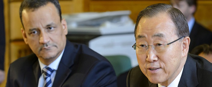 General Secretary Ban Ki-moon (R) speaks next to The United Nations Special Envoy of for Yemen Ismail Ould Cheikh Ahmed on June 15, 2015 at the UN offices in Geneva at the opening of Yemen peace talks. (FABRICE COFFRINI/AFP/Getty Images)