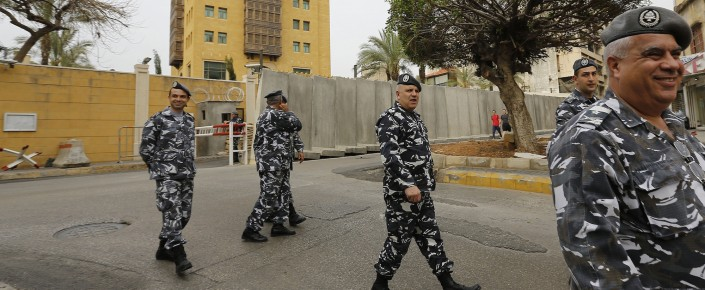 Lebanese security forces stand guard outside the Saudi embassy in Beirut's Hamra district. (ANWAR AMRO/AFP/Getty Images)