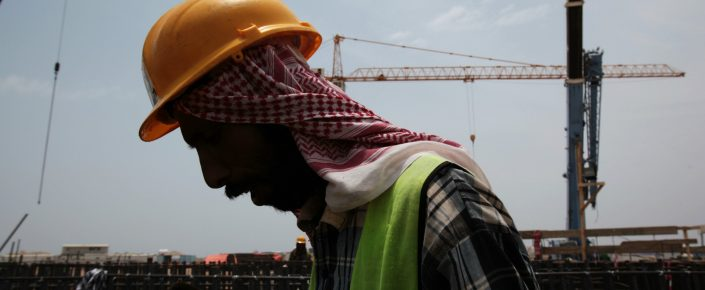 A man works on construction of the Kingdom Tower in Jeddah, Saudi Arabia. (AP Photo/Hasan Jamali)