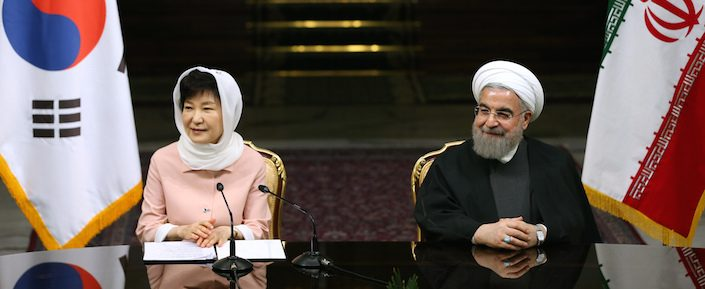South Korean President Park Geun-hye, left, speaks with media in a joint press conference with Iranian President Hassan Rouhani after their meeting in Tehran, Iran on May 2. (AP Photo/Ebrahim Noroozi)