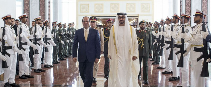 Sheikh Mohamed bin Zayed Al Nahyan, crown prince of Abu Dhabi, right, receives Egyptian President Abdel Fattah al-Sisi in Abu Dhabi, United Arab Emirates. (Ryan Carter, Crown Prince Court via AP)