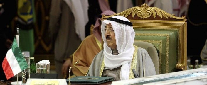 Kuwaiti Emir Sheikh Sabah al-Ahmed al-Sabah attends the closing session of the 36th Gulf Cooperation Council Summit in Riyadh, Saudi Arabia, Dec. 10, 2015. (AP Photo/Khalid Mohammed)