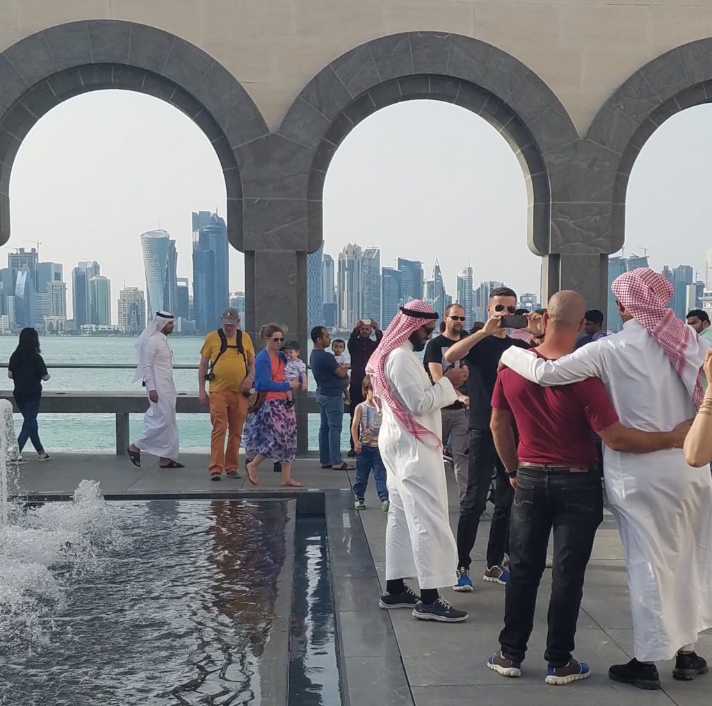 Crowds at the Museum of Islamic Art in Doha, Qatar