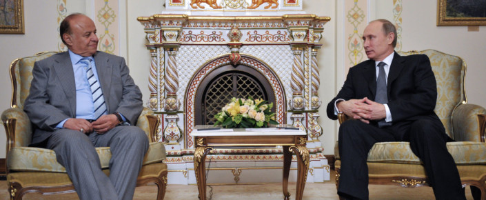 Russian President Vladimir Putin speaks to Yemeni President Abd-Rabbu MansourHadi