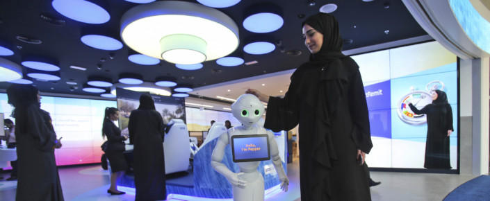 Woman presents Pepper the Robot in Dubai, Women in Technology