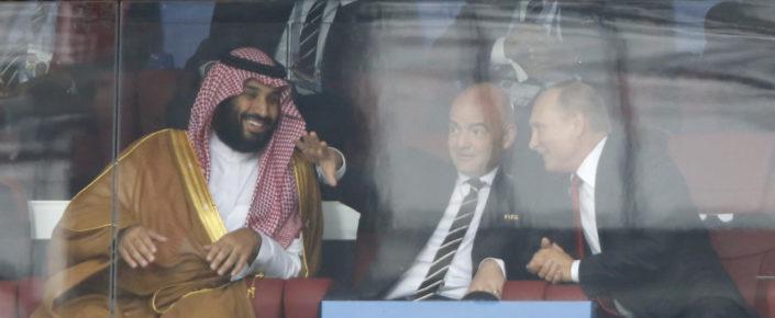 Saudi Arabia Crown Prince Mohammed bin Salman, left, FIFA President Gianni Infantino, center, and Russian President Vladimir Putin