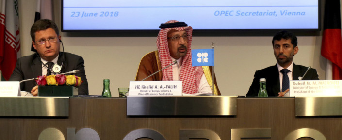 Russian Minister of Energy Alexander Novak, Saudi Minister of Energy, Industry and Mineral Resources Khalid Al-Falih, UAE Minister of Energy Suhail Mohamed Al Mazrouei, from left, attend a news conference after a meeting of OPEC and non-OPEC members at their headquarters in Vienna, Austria, June 23. (AP Photo/Ronald Zak)