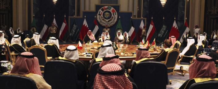 Kuwait's emir, Sheikh Sabah al-Ahmed al-Sabah, center, oversees the Gulf Cooperation Council summit in Kuwait City, Dec. 5, 2017. (AP Photo/Jon Gambrell)