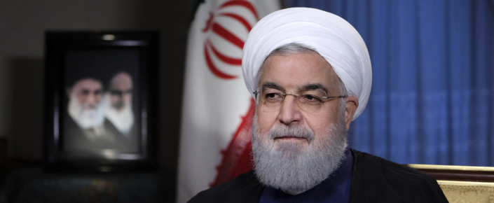 Iranian President Hassan Rouhani during a televised address in Tehran, Iran, Aug. 6 (Iranian Presidency Office via AP)